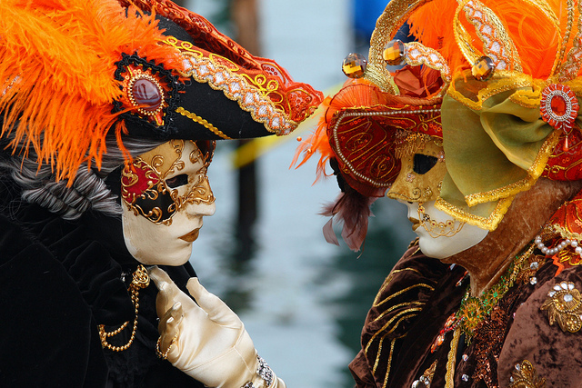Couple in love at the 2010 Carnevale in Venice by Frank Kovalchek