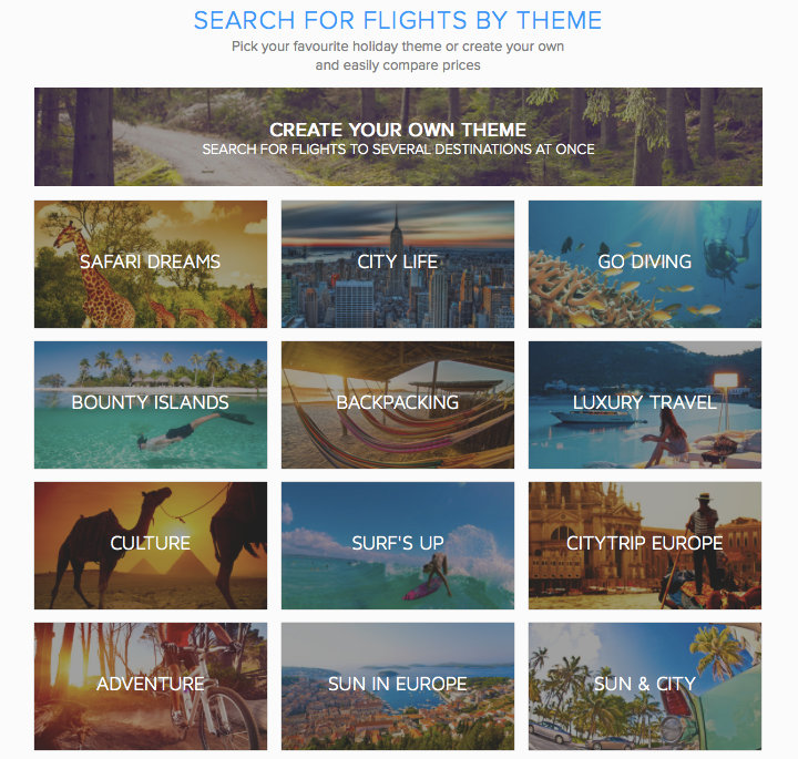 Flights by theme